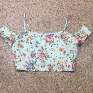 NWT Mint Crop Top with Cold Shoulder